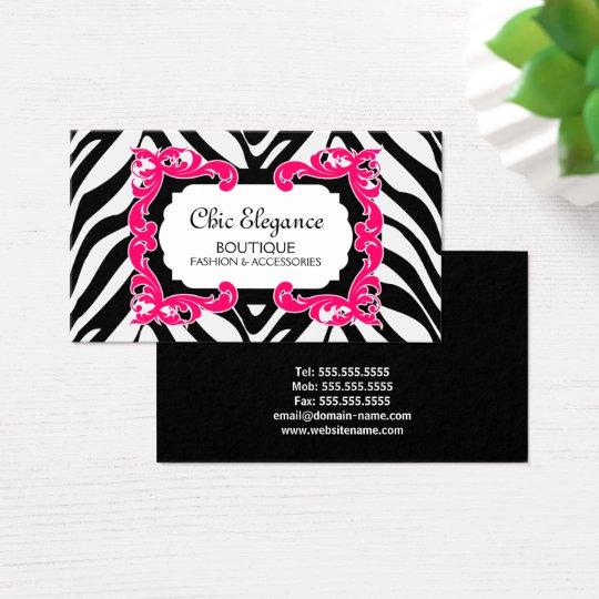 Zebra Pattern Pink Flourish Banner Business Card