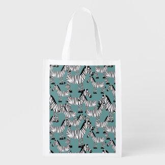 Zebra Pattern Reusable Grocery Bag