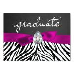 Zebra Pattern Rustic Chalkboard Graduate Script 13 Cm X 18 Cm Invitation Card