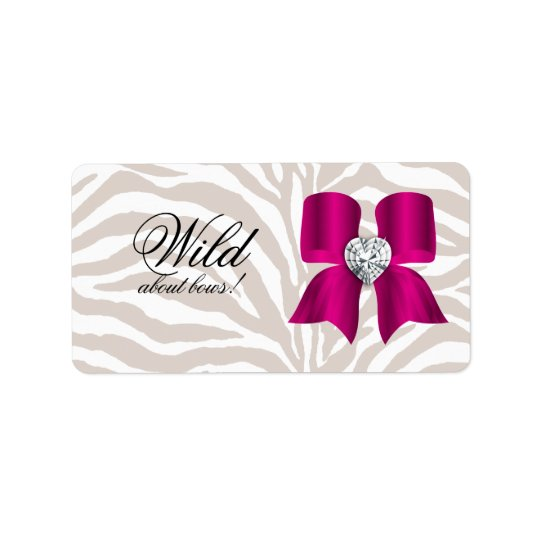 Zebra Pattern with Cute Fashion Jewellery Bow Address Label