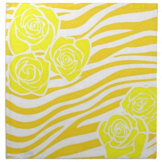 Zebra pattern + yellow roses napkin