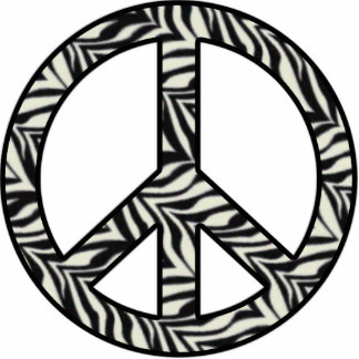 Zebra Peace Sign Standing Photo Sculpture