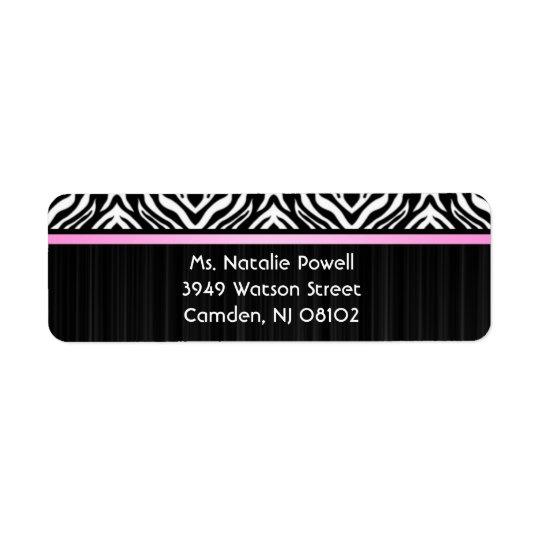 Zebra Pink Accent Return Avery Label Return Address Label