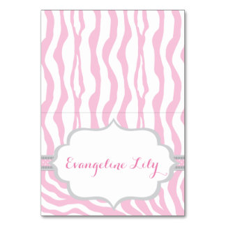 Zebra Pink and Grey Tent Table Card