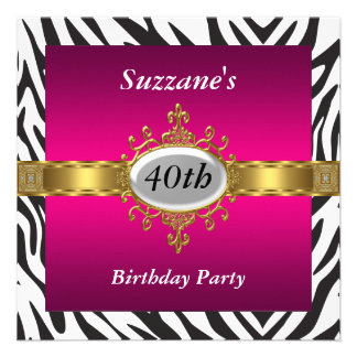 Zebra Pink Birthday Party Invitation Personalized Announcements