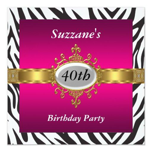 Birthday Party Invitations Zebra Pink Image Inspiration of Cake