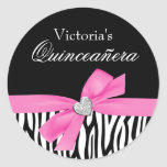 Zebra Pink Bow Diamond Quinceanera Sticker