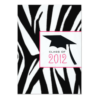 Zebra & Pink Class of 2012 Graduation Invitation