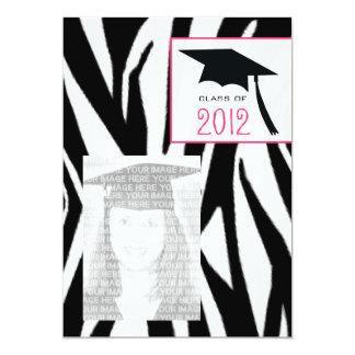 Zebra & Pink Class of 2012 Graduation Photo Invite