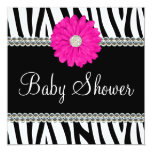 Zebra Pink Daisy Printed Gems Baby Shower 13 Cm X 13 Cm Square Invitation Card