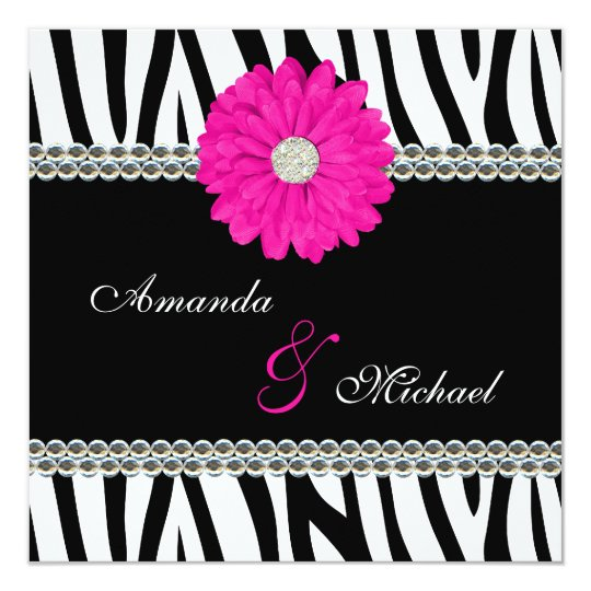 Zebra Pink Daisy Printed Gems Wedding Invitations