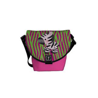 Zebra Pink & Green Animal Print Messenger Bag