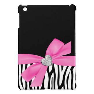 Zebra Pink Printed Bow Diamond Heart iPad Mini Case