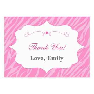 Zebra Pink Thank You Tag Label Pack Of Chubby Business Cards