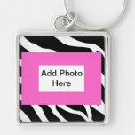 Zebra Pink White Template Key Chains