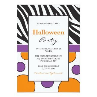 Zebra Polka Dot Halloween Party Invitations