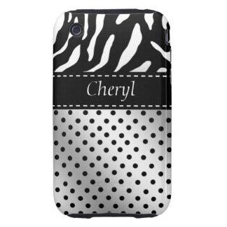 Zebra Polka Dots iPhone Case black and white