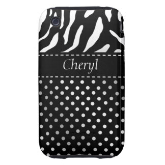 Zebra Polka Dots Personalized iPhone Case black iPhone 3 Tough Cover