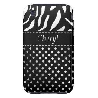 Zebra Polka Dots Personalized iPhone Case black