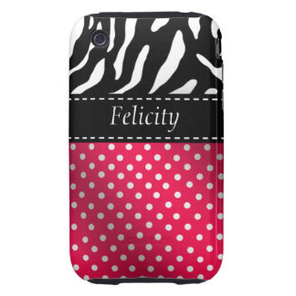 Zebra Polka Dots Personalized iPhone Case hot pink