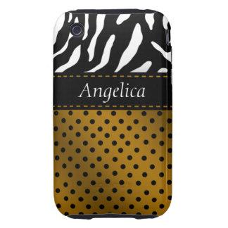 Zebra Polka Dots Personalized iPhone Case mustard