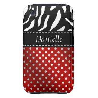 Zebra Polka Dots Personalized iPhone Case red Tough iPhone 3 Cover
