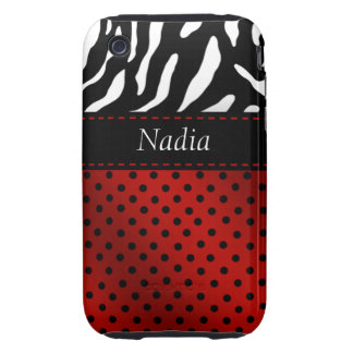 Zebra Polka Dots Personalized iPhone Case red iPhone 3 Tough Case