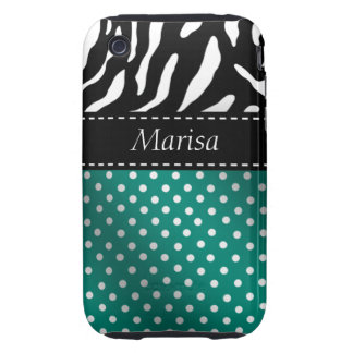 Zebra Polka Dots Personalized iPhone Case teal Tough iPhone 3 Case