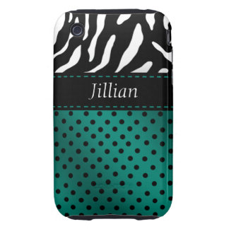 Zebra Polka Dots Personalized iPhone Case teal Tough iPhone 3 Cases