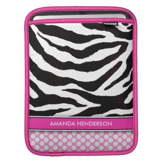 Zebra & Polka Dots Pink Personalised iPad Sleeve