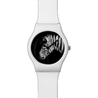 Zebra Portrait on Black Watches
