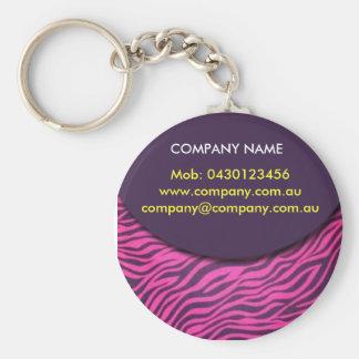 zebra-print1 basic round button key ring