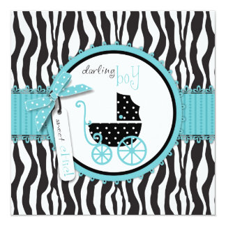 Zebra Print and Baby Carriage Baby Shower 13 Cm X 13 Cm Square Invitation Card