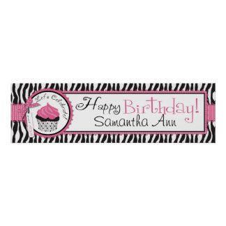 Zebra Print and Cupcake Birthday Banner