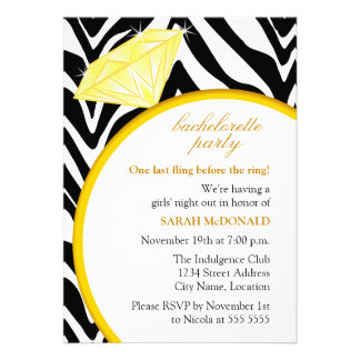 Zebra Print and Gold Ring Bachelorette Party Personalized Announcement