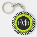 Zebra Print and Lime Lace Monogram Personalised Key Chain
