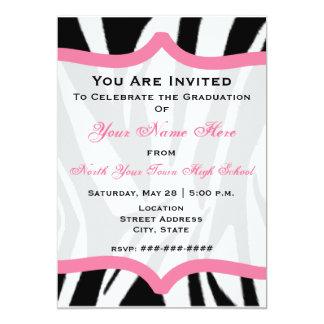 Zebra Print and Pink Class of 2011 Graduation 13 Cm X 18 Cm Invitation Card