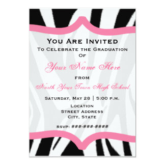 Zebra Print and Pink Class of 2011 Graduation Card