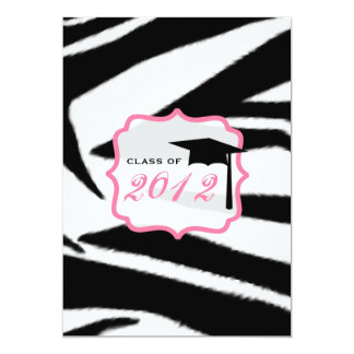 Zebra Print and Pink Class of 2012 Graduation Card