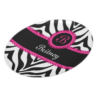 Zebra Print and Pink Lace Monogram Plate