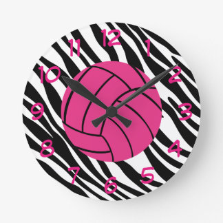 Zebra Print and Pink Volleyball Wall Clock