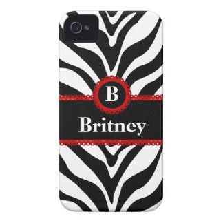 Zebra Print and Red Lace Monogram Name Case-Mate iPhone 4 Cases