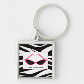 Zebra Print And Retro Pink Sunglasses Silver-Colored Square Key Ring