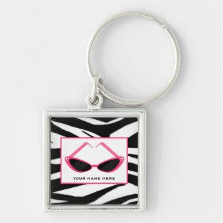 Zebra Print And Retro Pink Sunglasses Silver-Colored Square Key Ring