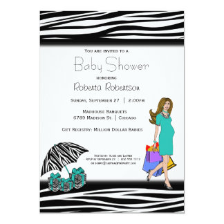 Zebra Print And Teal Shopping Mommy 13 Cm X 18 Cm Invitation Card