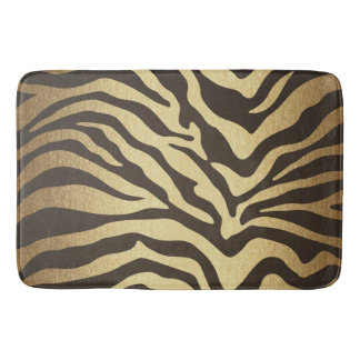 Zebra Print Animal Skins Skin Modern Glam Gold Bath Mat