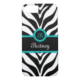 Zebra Print Aqua Lace Monogram iPhone 8/7 Case