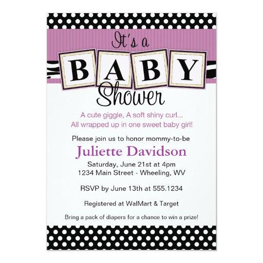 Zebra Print Baby Blocks Baby Shower Invitation
