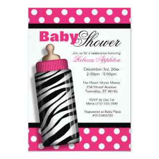 Zebra Print Baby Bottle Hot Pink Baby Shower 13 Cm X 18 Cm Invitation Card