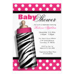 Zebra Print Baby Bottle Hot Pink Baby Shower Personalized Announcements